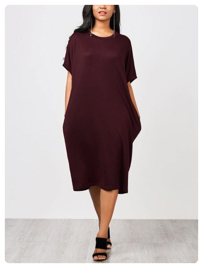 Casual Knitted Straight Midi Dress (Wine red) | Straight ...