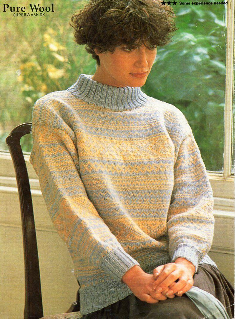 68df62a5bfc4 ladies Fair Isle sweater knitting pattern pdf DK womens fair isle ...