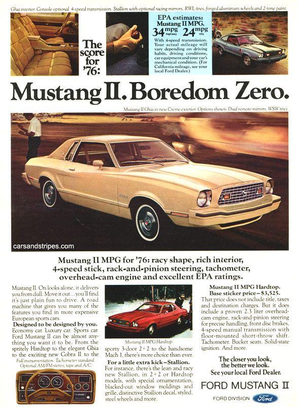 1976 Ford Mustang Ii Boredom Zero Original Ad Mustang Ii