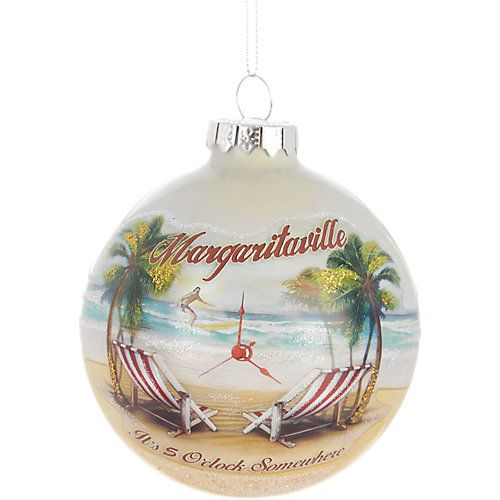 Bring the relaxing spirit of the beach to the holidays with Margaritaville holiday accessories. This ornament features a cheerful beachy design. Measures approximately 4''W.