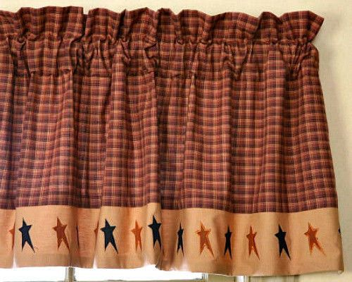 Primitive Country Folk Art BLACK TAN STAR VALANCE Rust Brown Window Curtain