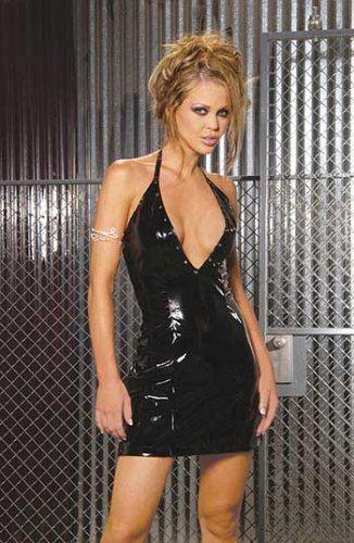 Deep V vinyl halter dress with nail heads Black