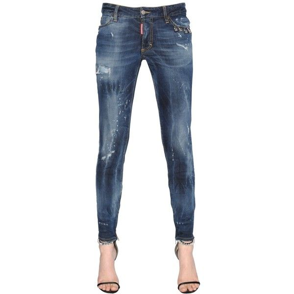 ae5a7d3787cc14 Dsquared2 Women Skinny Piercing Medium Waist Denim Jeans ($430) ❤ liked on  Polyvore featuring