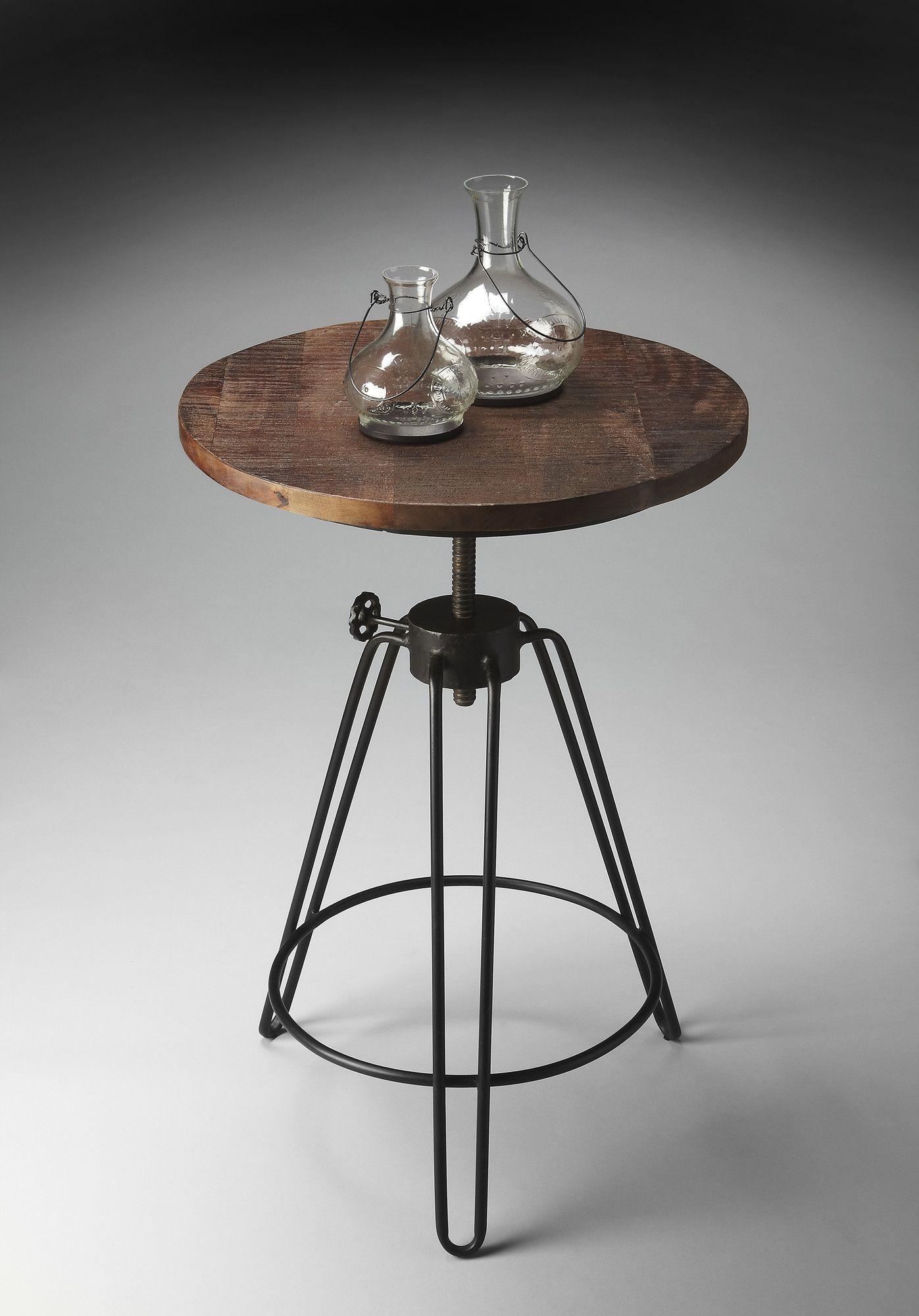 Roanoke Side Table Rustic Industrial On Joss Main Wood Accent Table Adjustable Side Table Side Table
