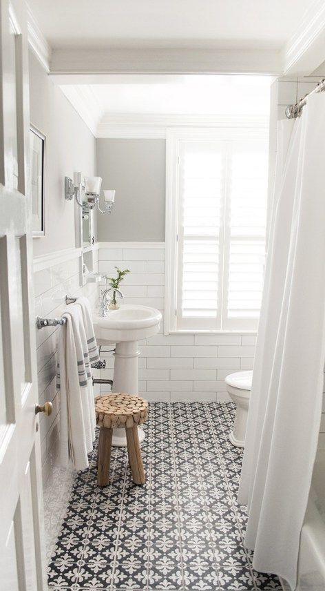 10 Beyond Stylish Bathrooms with Patterned Encaustic Tile | White ...