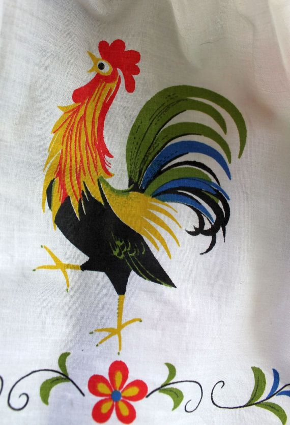 CAFE CURTAIN - ROOSTER - kitchen curtains - set of 2 - white ...