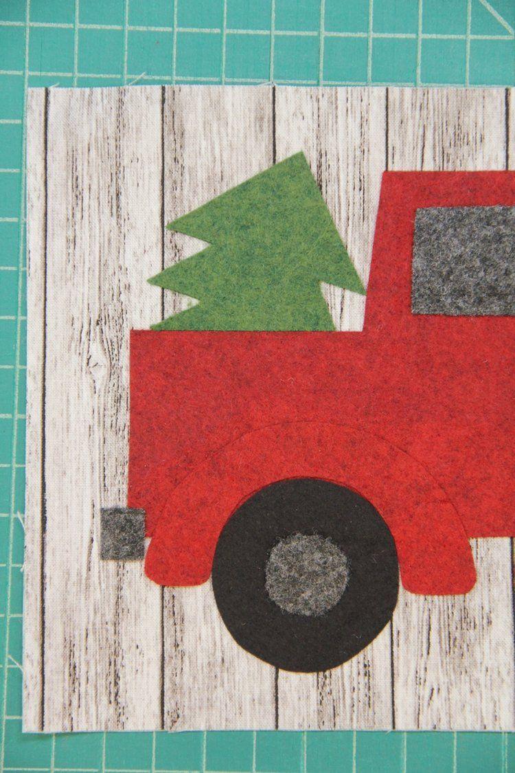 Red Truck Mug Mat Christmas mug rugs, Mug rug patterns