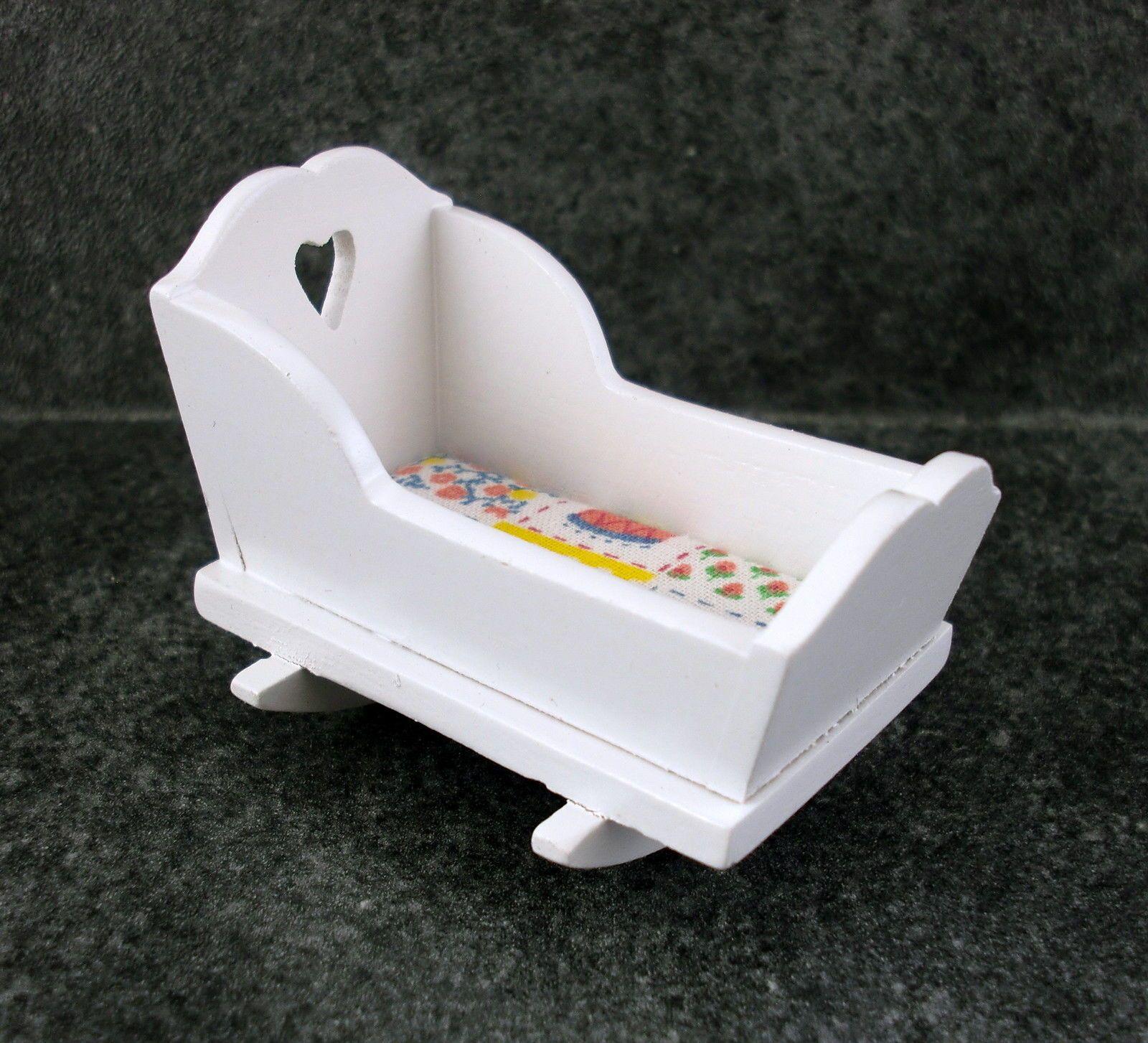 Miniatura Para Casa De Muñecas 1:12 Muebles Bebés Madera Blanca ...