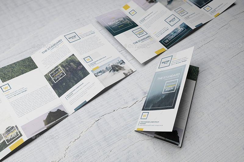 Four Panel Fold Brochure Mockups Brochure mockup psd