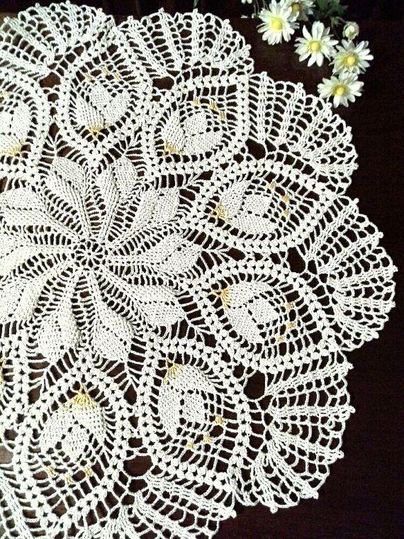 Crochet lace doily Cream doily Lace table topper Doilies Big crochet ...