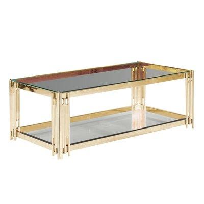 Orren Ellis Clarkson 2 Tier Glass Top Coffee Table Table Base Colour Gold Glass Top Coffee Table Mirrored Coffee Tables Coffee Table Wayfair