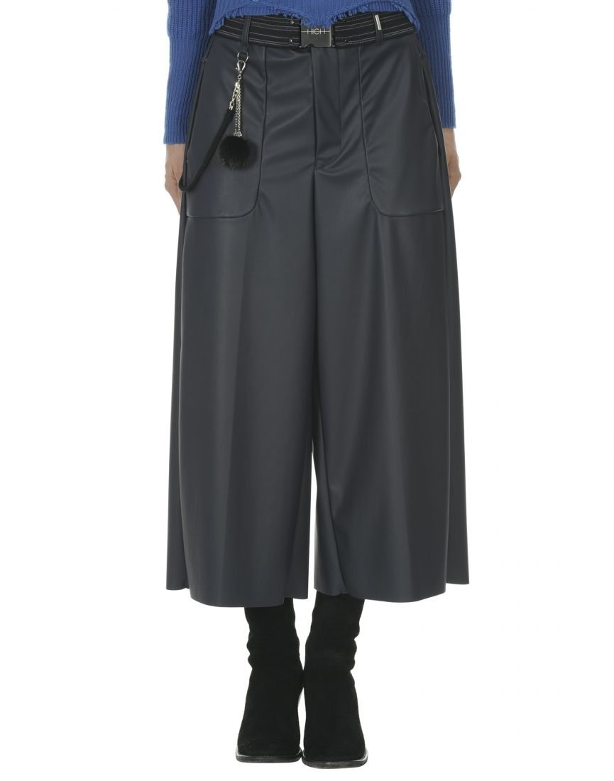 0ec9d0ab5d FREEWAY: Blue leather-effect cropped jersey flares - All - Woman - SECOND  SEASON AW - Shop online