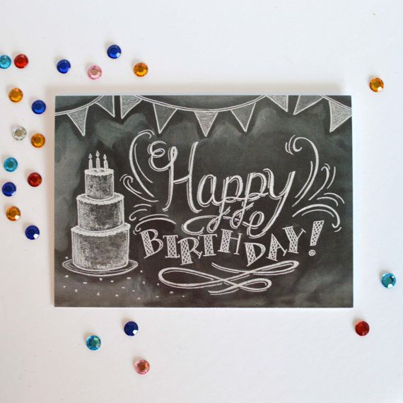 birthday card unique birthday card happy by sugarbirdprints happy birthday chalkboard happy birthday calligraphy - Unique Birthday Cards