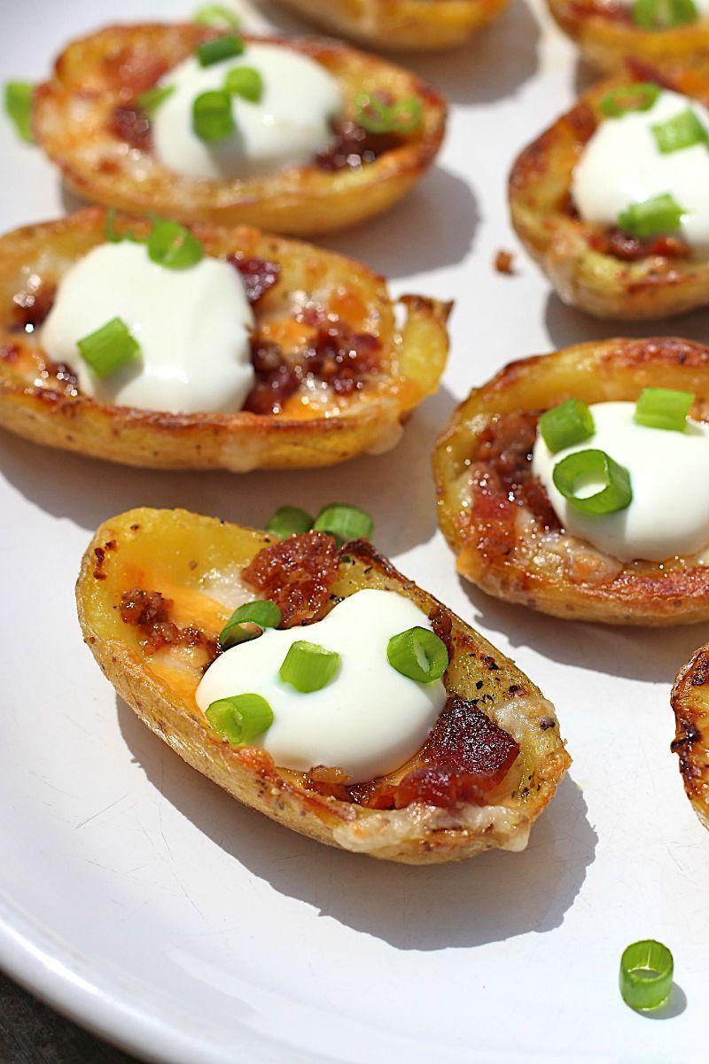 Mini Potato Skins #fingerfoodappetizers Mini Potato Skins #fingerfoodappetizers
