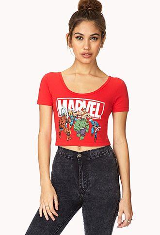 ea35d8eafe7 Marvel Superheroes Crop Top   FOREVER21 - 2000127470   To Buy in ...