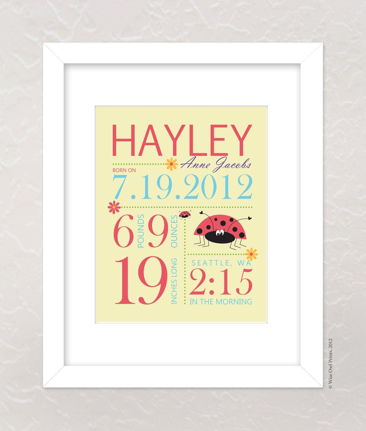 Nursery Wall Art Print Custom (Baby Name and Birth Stats) 8x10 ...