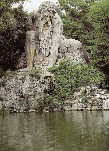 """The Appennine Colossus by Giambologna, Pratolino, Tuscany, Italy. Most of this marvelous garden was destroyed in 1819 to make an easy to maintain """"English garden""""."""