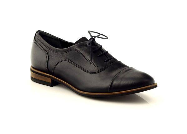 Oksfordy Damskie Wiazane Edeo 2052 Czarne Brazowe Oxford Shoes Womens Oxfords Shoes