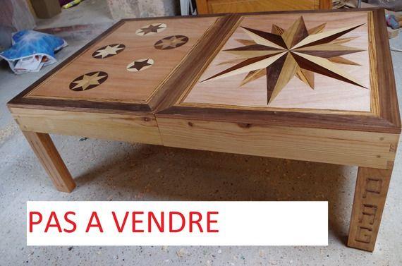Table Basse Avec Marqueterie Meubles Et Rangements Par Atelier Bois Table Basse Mobilier De Salon Marqueterie