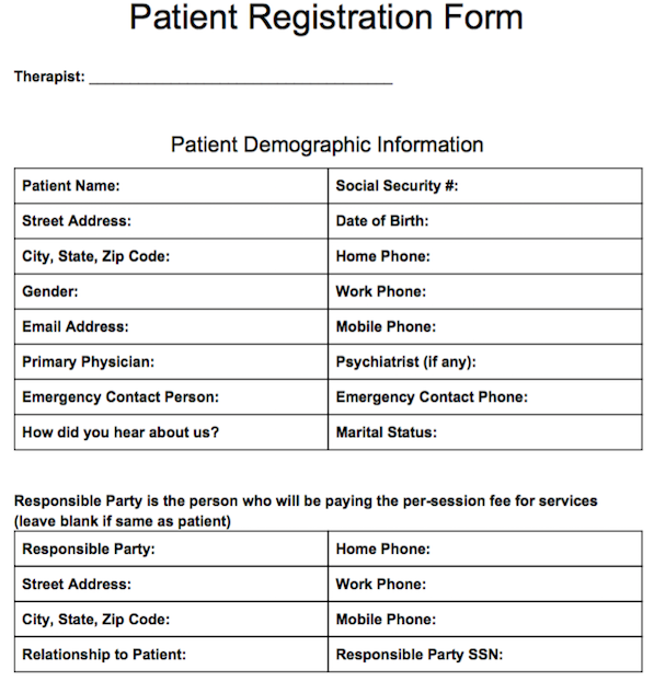 Patient registration form free counseling note templates patient registration form thecheapjerseys Image collections