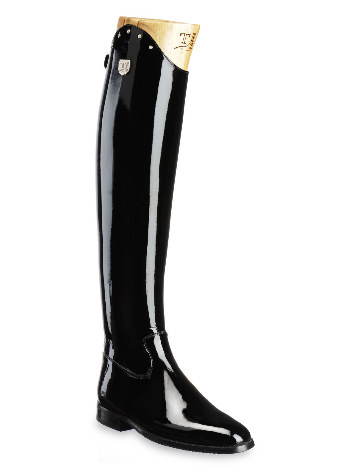 1e1d41114f3 Tucci Dressage Collection Tall boot in black patent leather with rigid leg,  back zipper, and Swarovski crystal. Produced using Italian calfskin with an  ...