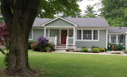 Great small porch idea front porch pinterest house for How to add curb appeal to a ranch style house