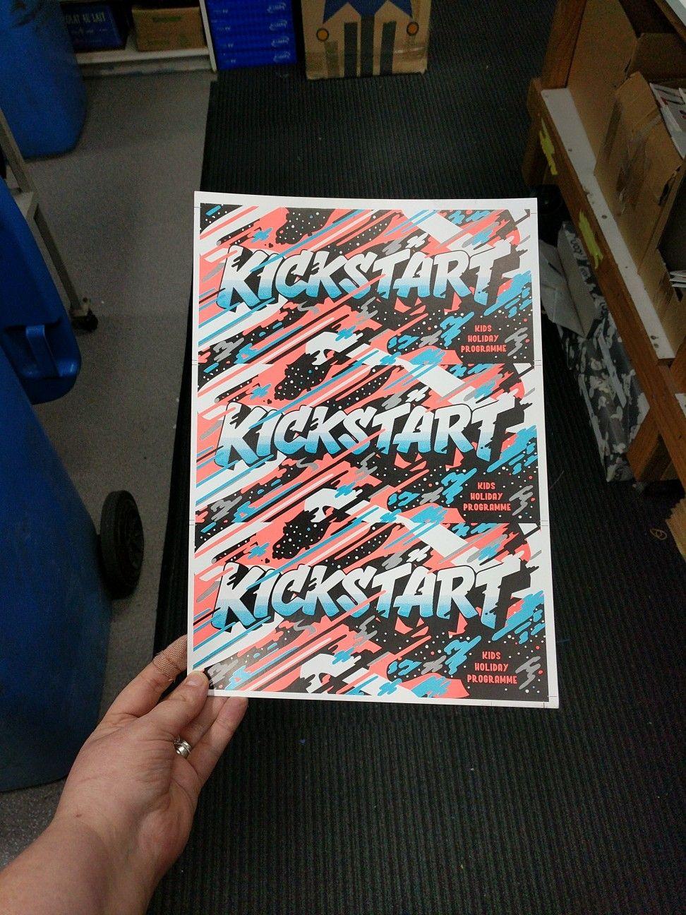 Fluro Pantone 804 Spot Colour Print Job 3 Up DL Postcard Offset