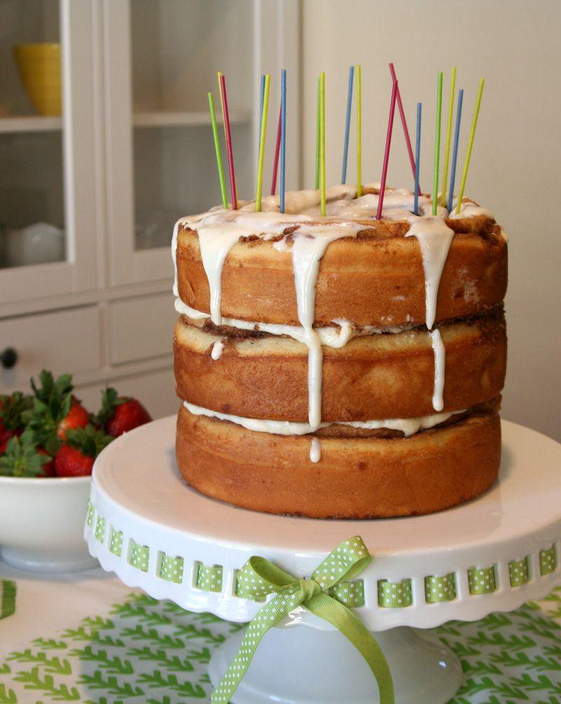 Cinnamon Roll Breakfast Birthday Cake Why wait all the way until
