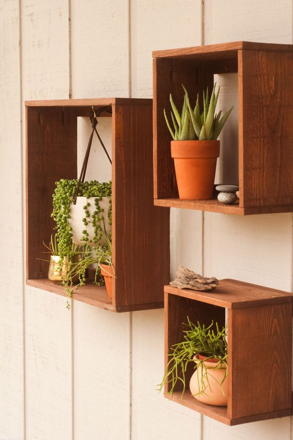 how to make these diy rustic floating plant boxes diy and craft rh pinterest com  wooden box shelf diy