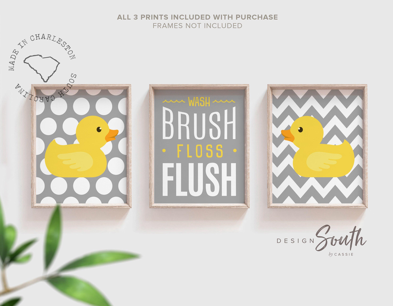 Rubber duckie bathroom art rubber duck bath art gray yellow  Etsy