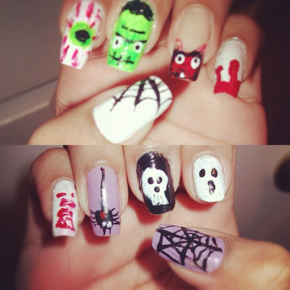 Halloween cute diy nails :) With a spider, eyeball ...