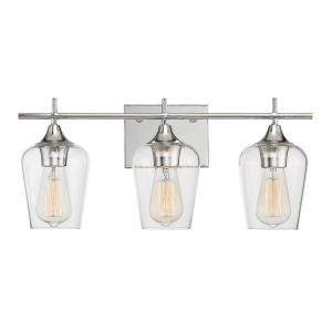 Savoy House Octave 3 Light Wide Bathroom Vanity With Clear Gl Polished Chrome Indoor Lighting Fixtures
