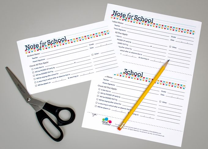 Note for School #printable #backtoschool- absence form, interview - absence note