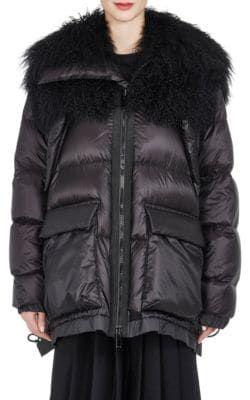Jacket Down Collar Fur Oversized SACAI cloth Puffer sacai tXqTxf