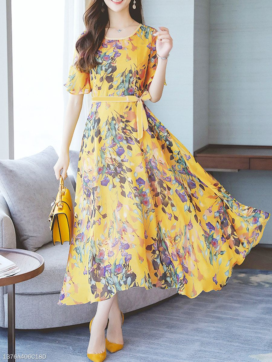 46f4943f0f85 Round Neck Belt Printed Maxi Dress - berrylook.com | dresses ...