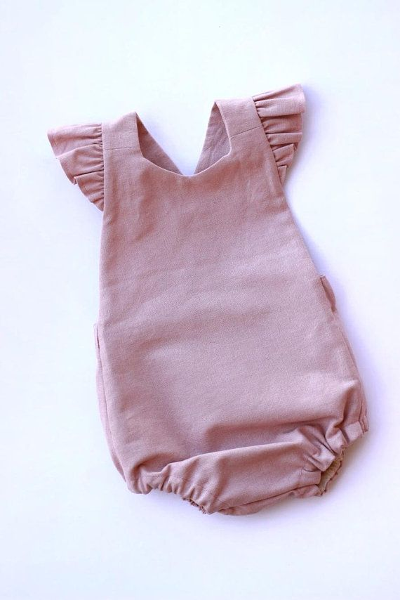9905a748e17f Dusty Pink Linen Blend Baby Romper Linen Toddler Romper Vintage Baby Romper  First Birthday Outfit