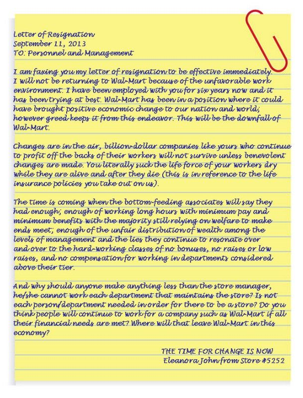 Letter of Resignation from WALMART   One of the biggest