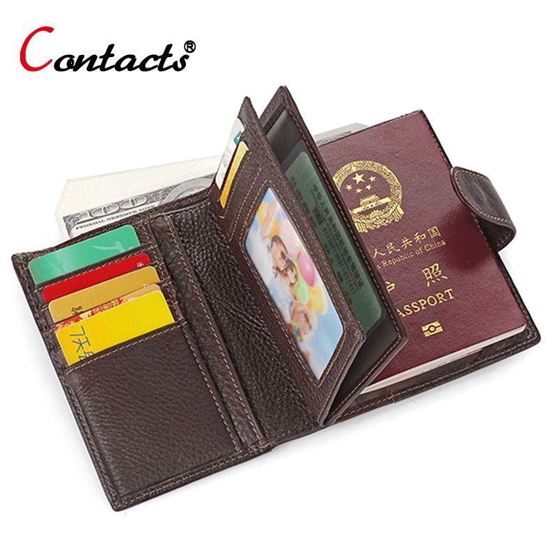 CONTACT\'S genuine leather men wallet Passport cover Business card ...