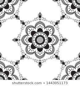 Seamless Pattern Black White Mehndi Lace Stock Vector (Royalty Free) 1443051173 - #black #mehndi #pattern #seamless #stock #vector #white - #Iran