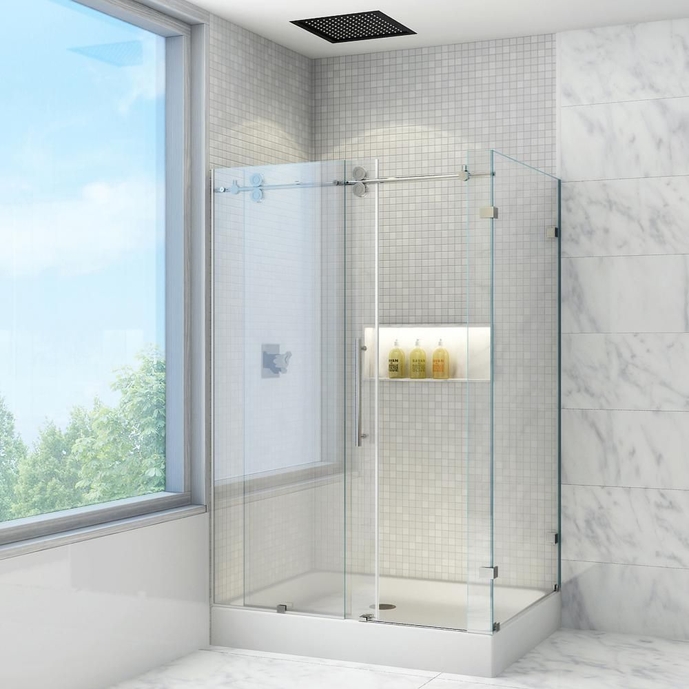Vigo Winslow 48 125 In X 79 875 In Frameless Bypass Shower Enclosure In Chrome With Clear Glass And Left Base Vg6051chcl48wl Frameless Shower Enclosures Rectangular Shower Enclosures Glass Bathroom