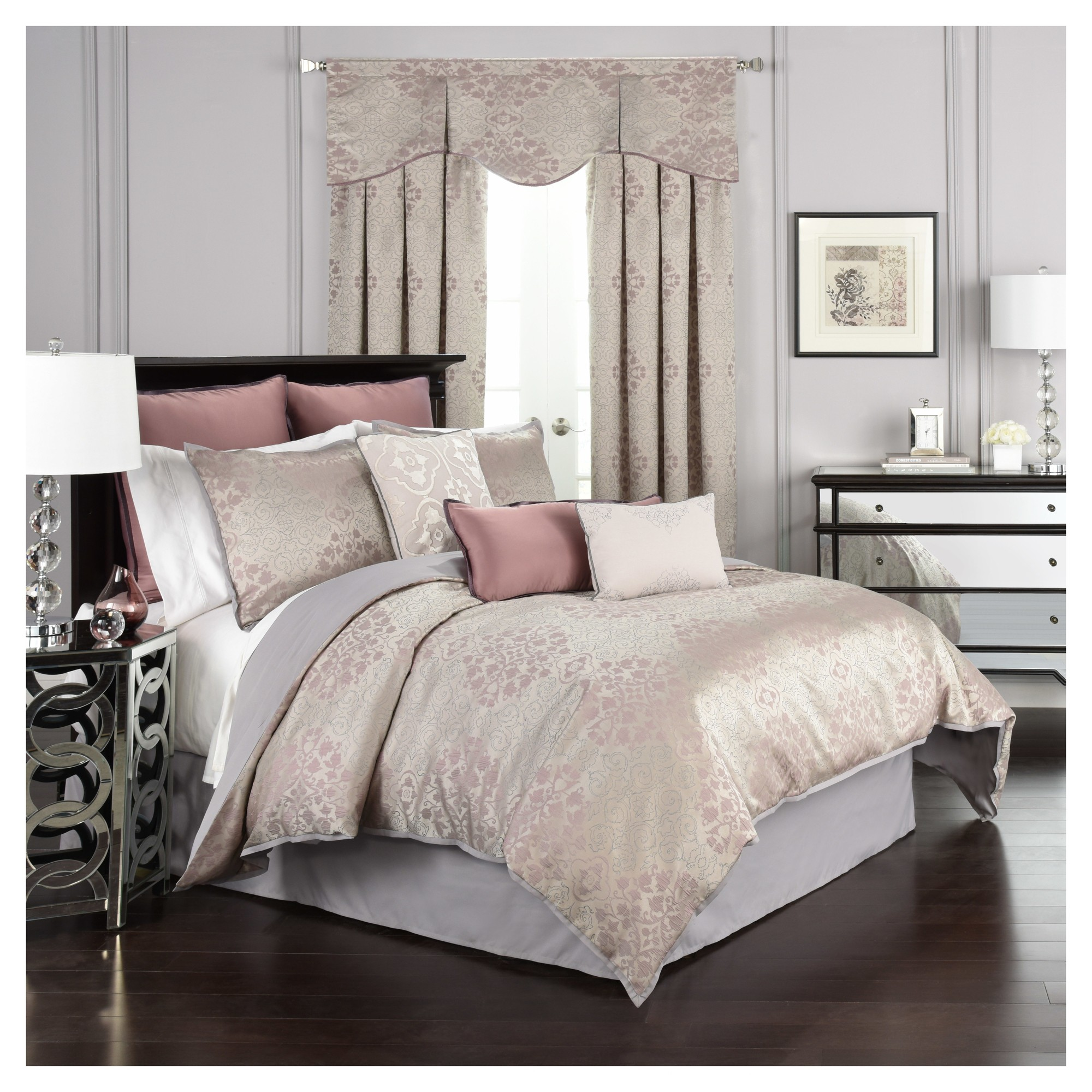 Purple & Gray Floral forter Set King 4pc Beautyrest Gray