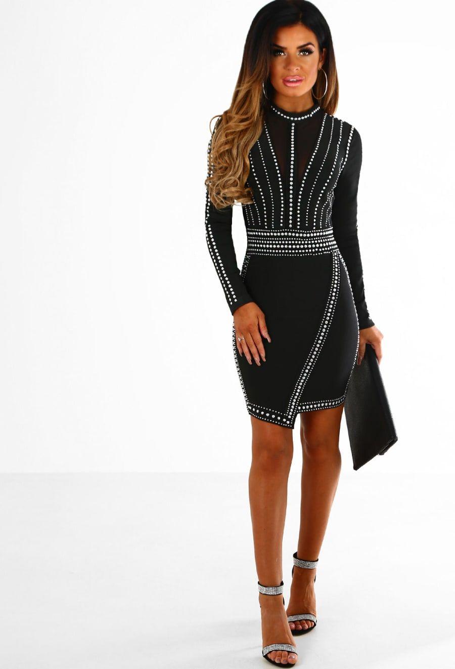7a668a71de9b10 Party Rock Black Studded Long Sleeve Bandage Mini Dress - 8