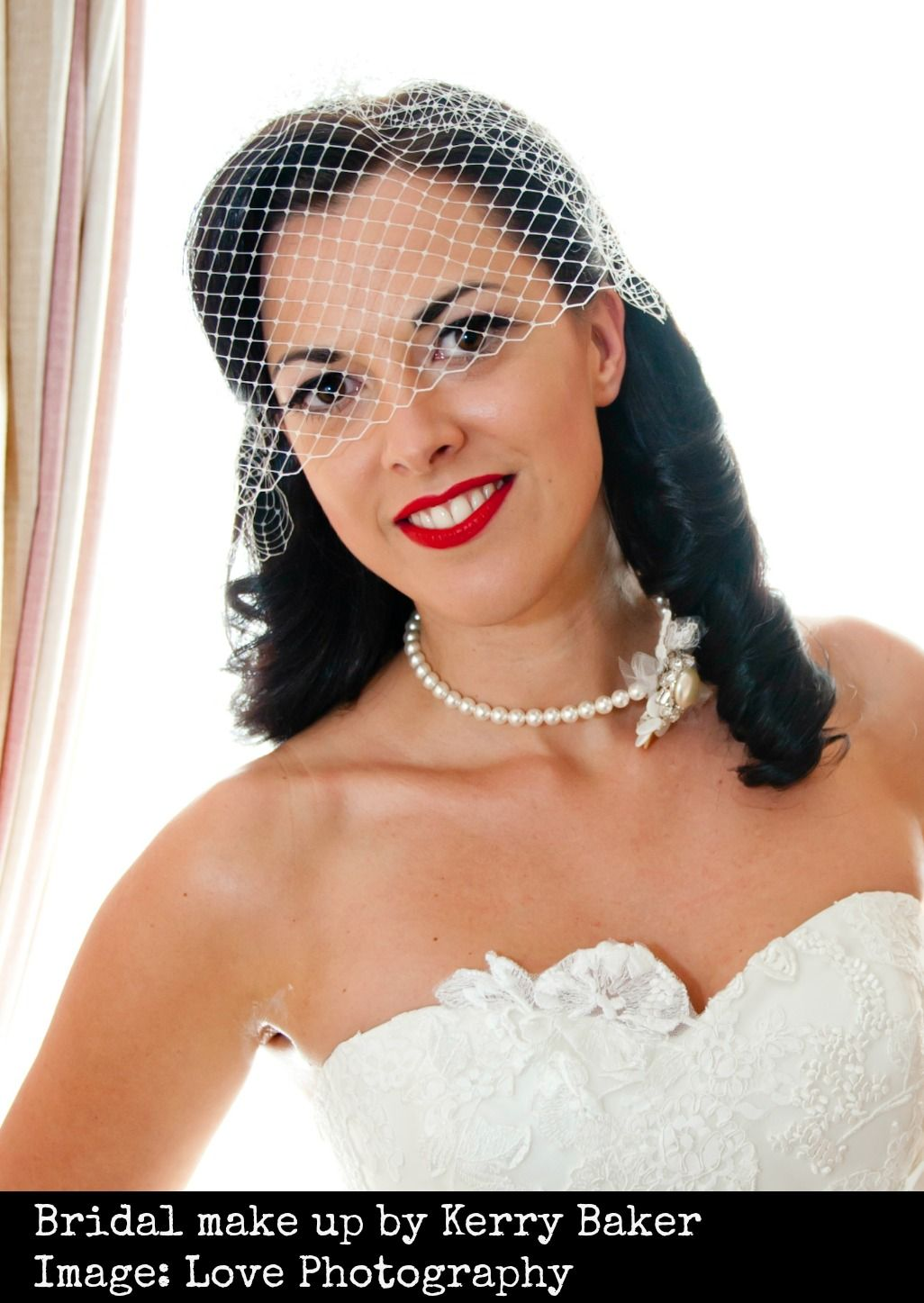 Vintage wedding day va va voom! Winged eye liner and