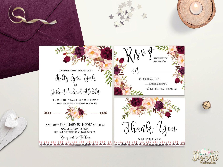 Boho Wedding Invitation Printable Floral Wedding Invite