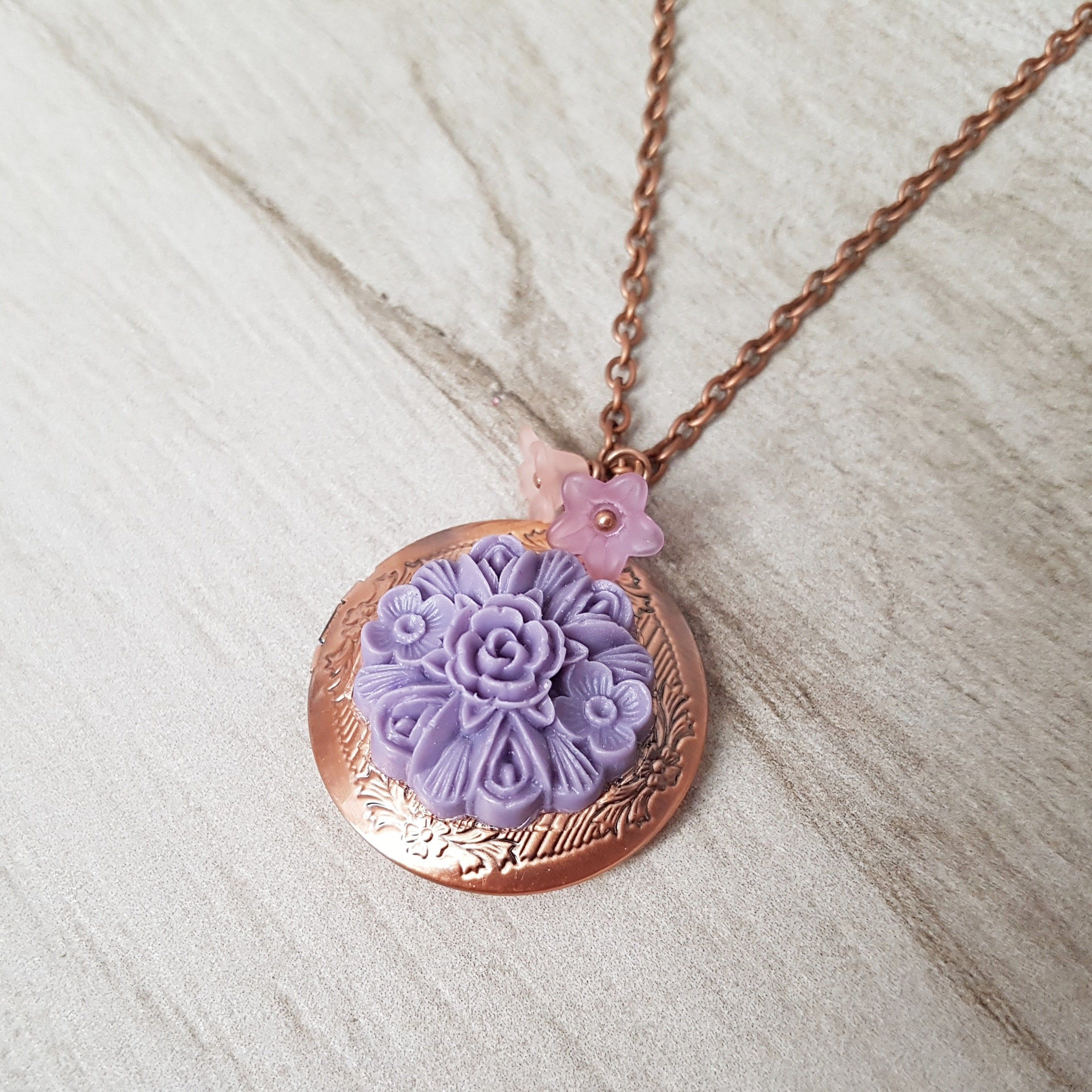 Lavender Flower Locket With Lucite Trumpet Flowers Copper Locket With Purple Rose Mauve Copper Locket Necklace Choose Your Length Beautiful Wedding Jewelry Locket Necklace Mood Stone Ring