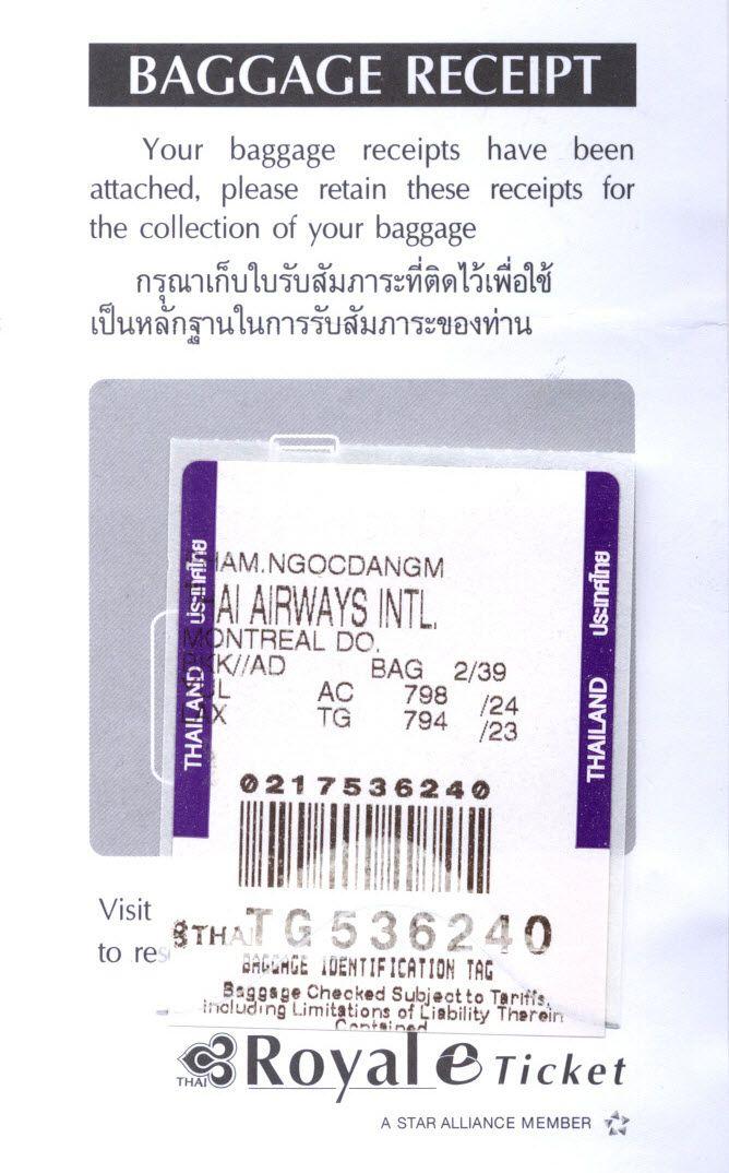 thai airways royal silk business class luggage receipt tg. Black Bedroom Furniture Sets. Home Design Ideas