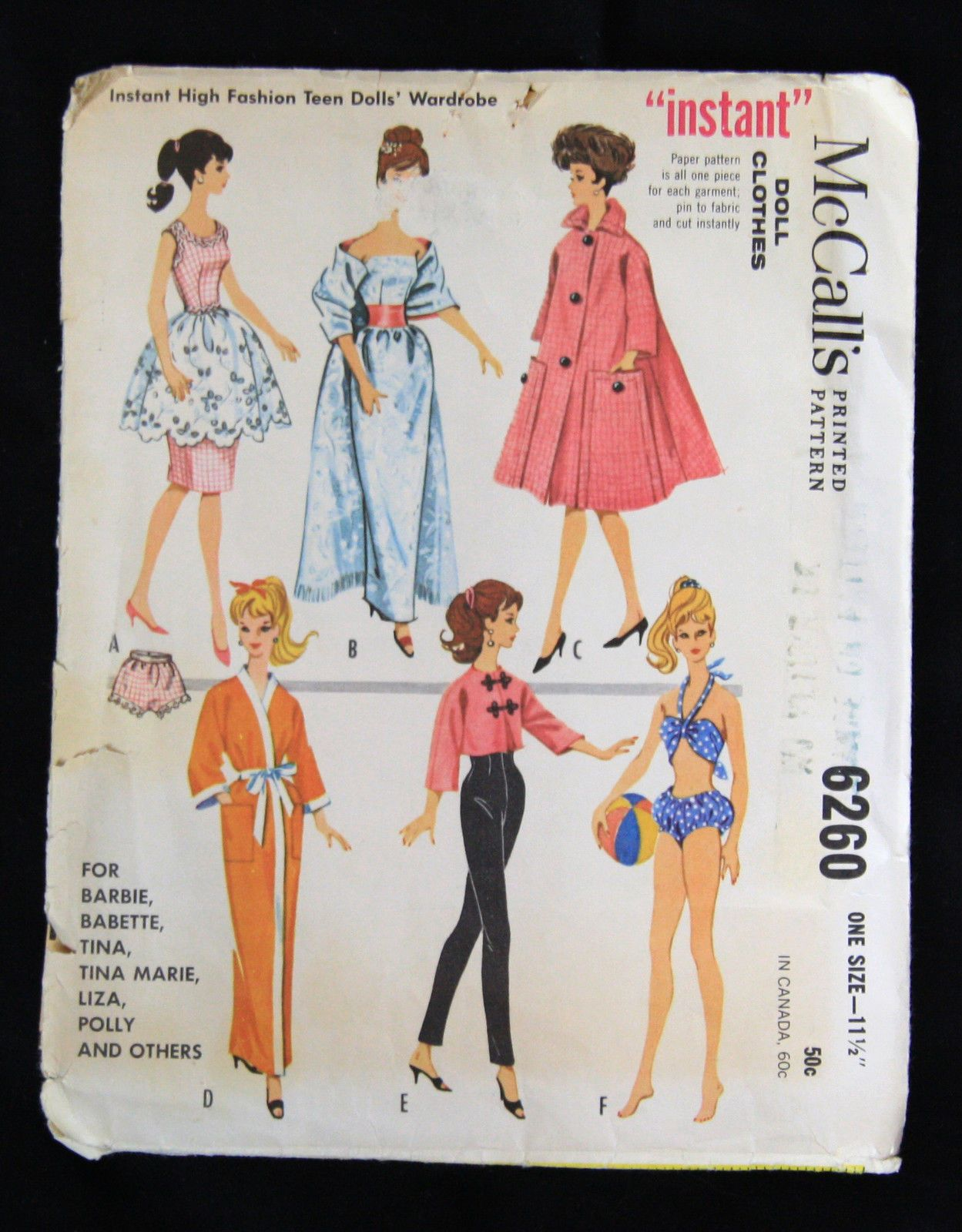 Vintage Sewing Pattern Barbie Teen Doll Wardrobe Clothes 1962