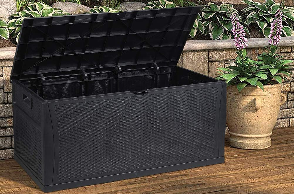 120 Gallon Resin Wicker Patio Storage Box Find Out More About