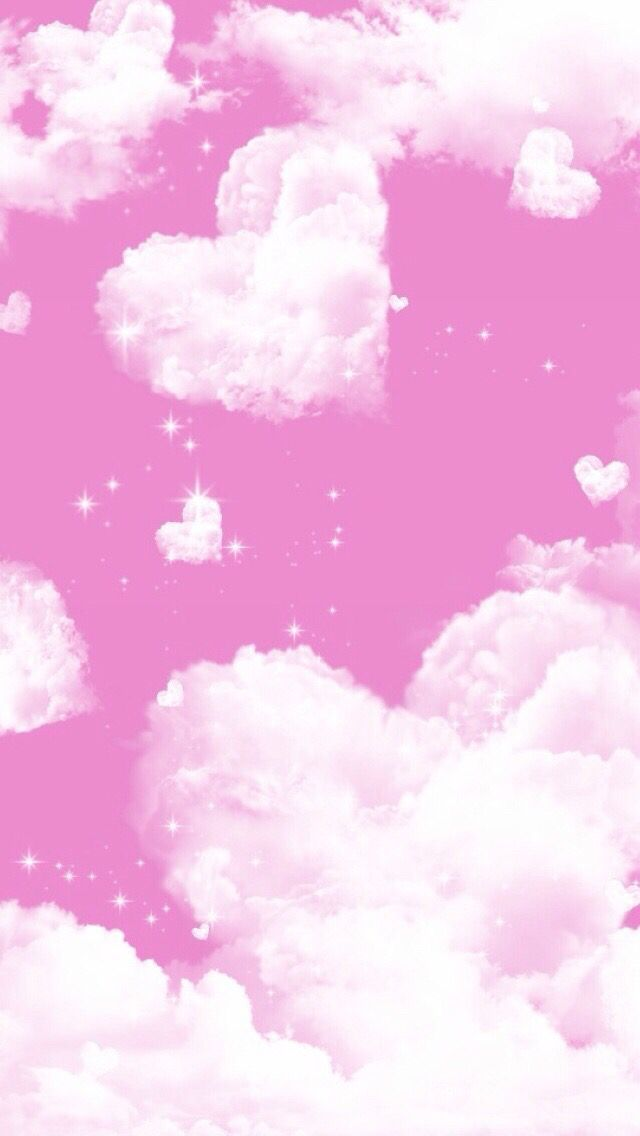 Pink White Heart Clouds Iphone Background Wallpaper Phone Lock