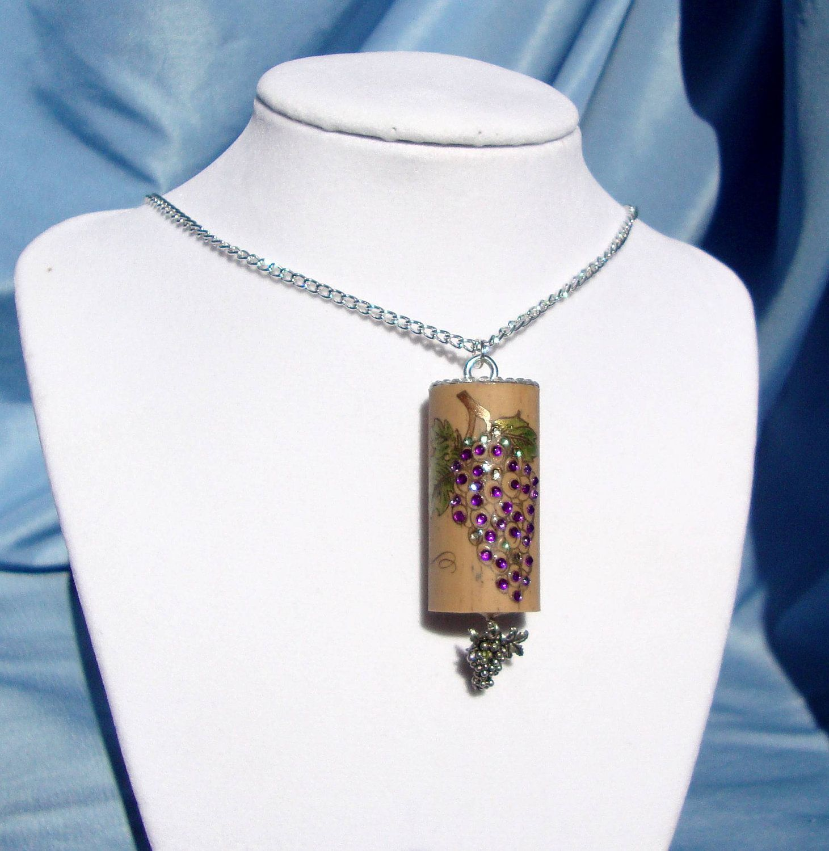 Cork Jewelry: Embellished Wine Cork Crystal Grapes Pendant Necklace OOAK